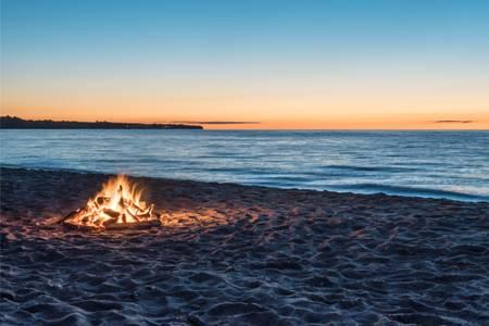 Fire on the beach in Cape San Blas