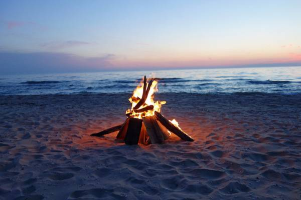 Bonfire on beach in Cape San Blas